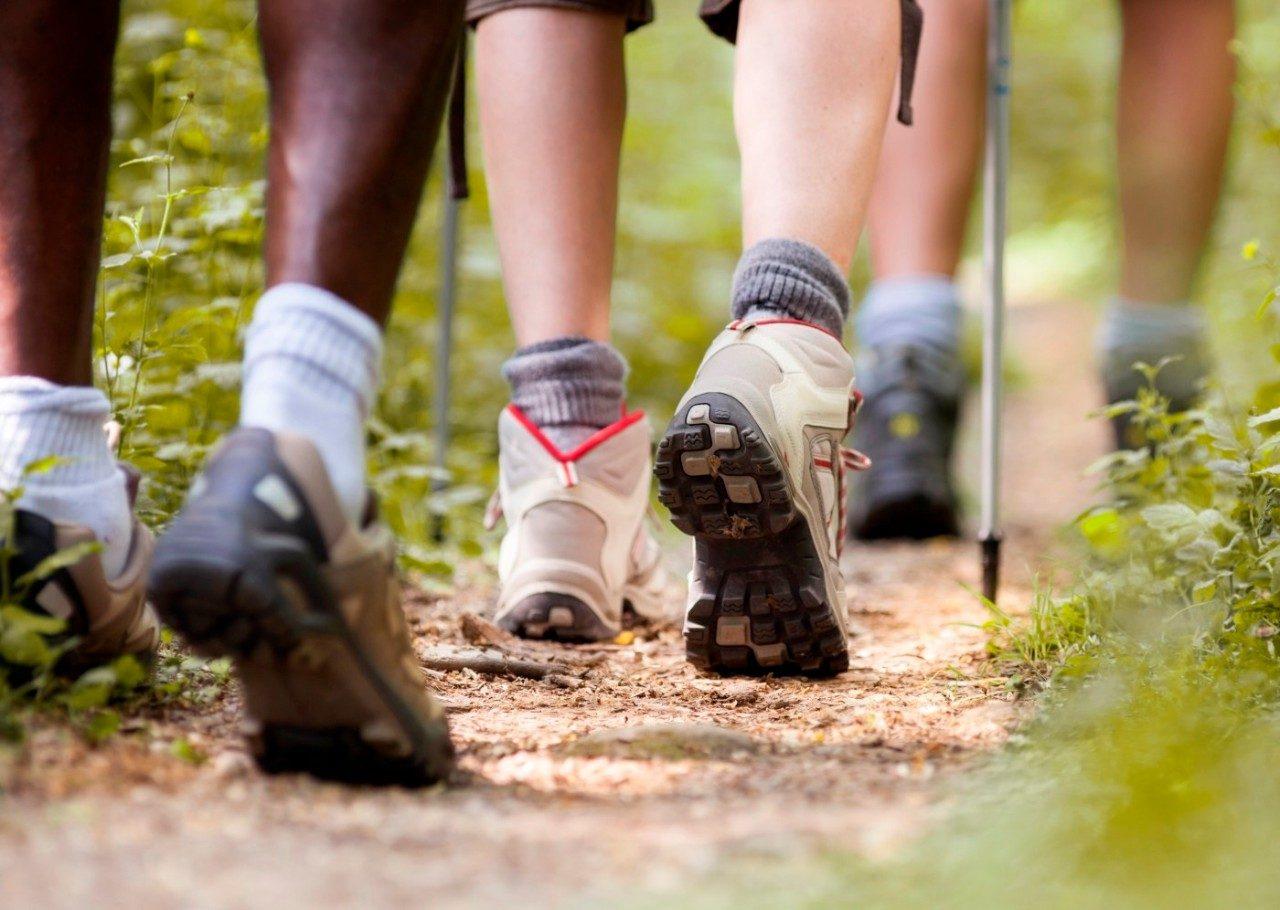 Closeup of hikers' feet walking down a trail.